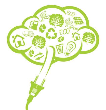 eficiencia energética: enchufe verde - concepto de energía eléctrica