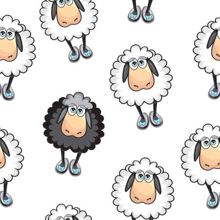 Sheep Seamless pattern Vector