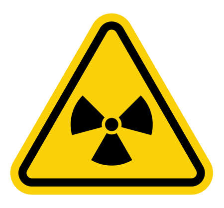 Yellow triangle sign with a radiation symbol on white glossy plane Stock Vector - 20504320