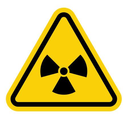 hazardous imperil: Yellow triangle sign with a radiation symbol on white glossy plane Illustration