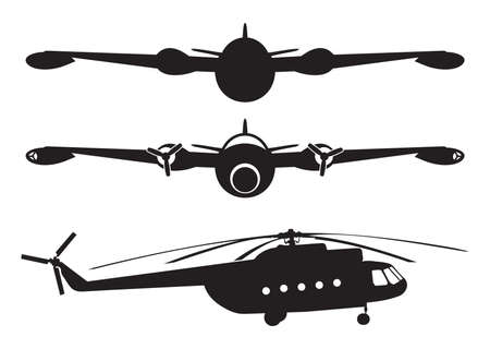 military draft: airplane and helicopter silhouette
