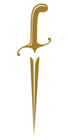 grappling: medieval golden dirk symbol Illustration