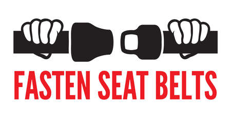 cautious: Fasten your seat belts icon Illustration