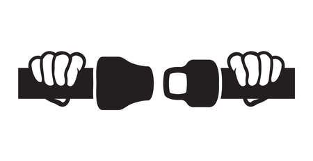 black belt: Fasten your seat belts icon Illustration