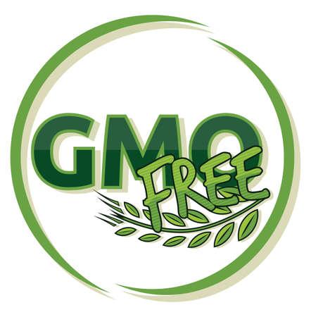 genetically modified: gmo free label Illustration