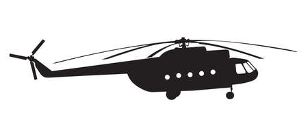 military helicopter: Silhouette of a helicopter