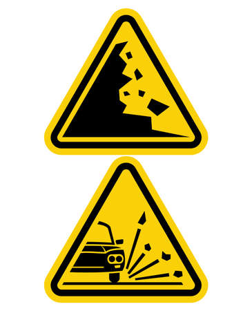 hazard sign: sign of falling rocks and slippery road sign