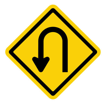 bend: U-Turn Roadsign Illustration