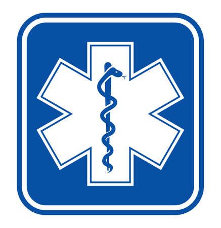 Emergency star - medical symbol caduceus snake with stick Vector