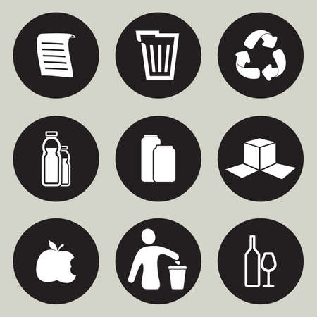 waste products: Recycling icon set Illustration