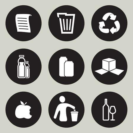 reusable: Riciclaggio icon set Vettoriali