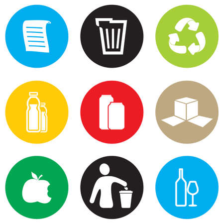 garbage bin: Recycling icon set Illustration