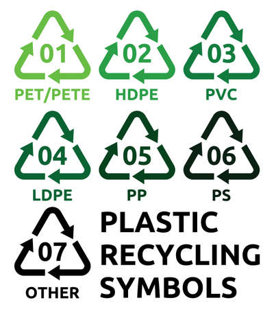 recycling bottles: Plastic recycling symbols