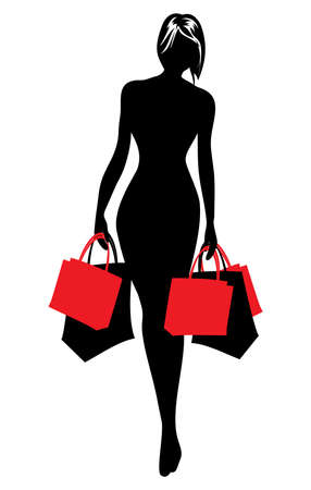 Woman silhouette in shopping Stock Illustratie