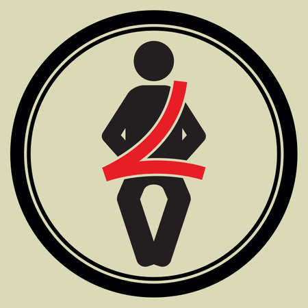 seat belt: seat belt sign Illustration