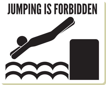 No diving and jumping sign Vector