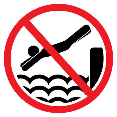 飛び込み禁止とサインをジャンプ