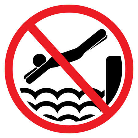 diving: No diving and jumping sign