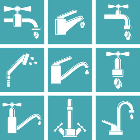 Water tap icons Vettoriali