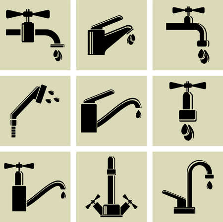 Water tap icons Illustration
