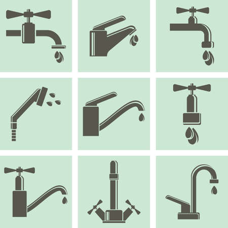 sanitary engineering: Water tap icons Illustration