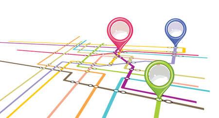 Metro scheme - U-Bahn-Karte mit Zeigern Vektorgrafik