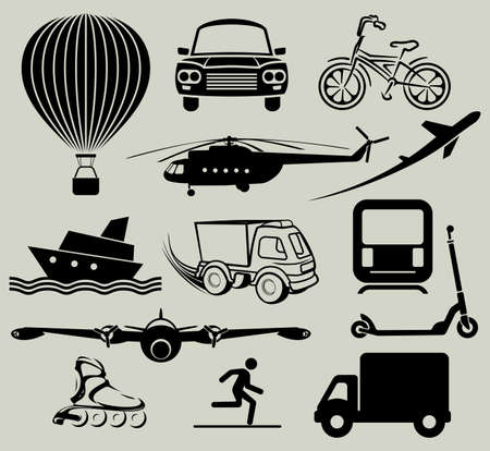 means of transportation: Icons for various means of transportation