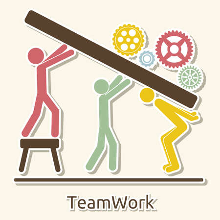working together: teamwork card Illustration