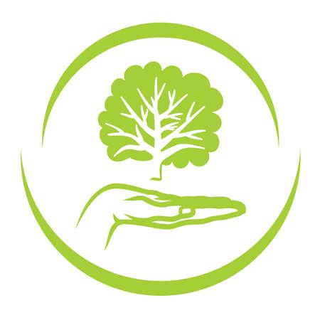 Piense Etiqueta verde Ilustración de vector