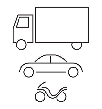 hatchback: Vehicle icon set - truck, car, motorcycle