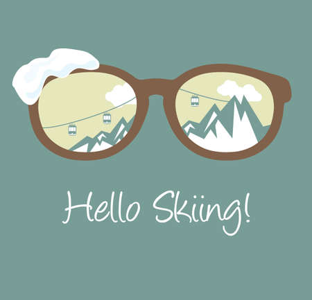 Hello skiing Stock Illustratie