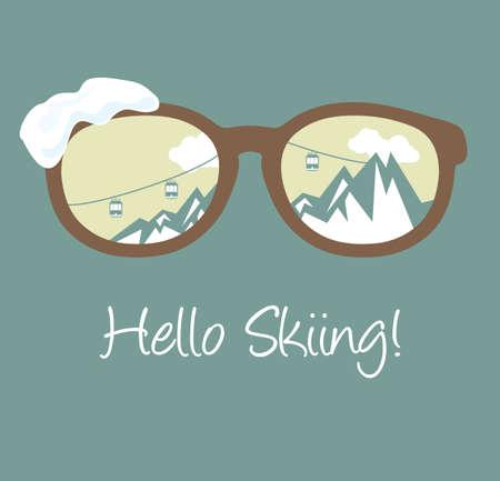 Hello skiing Vector