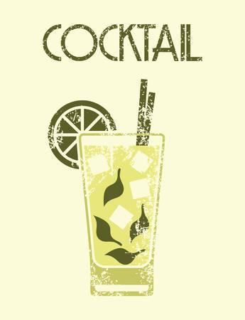Cocktail retro poster Vector