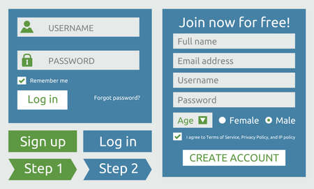 log in and sign up user interface