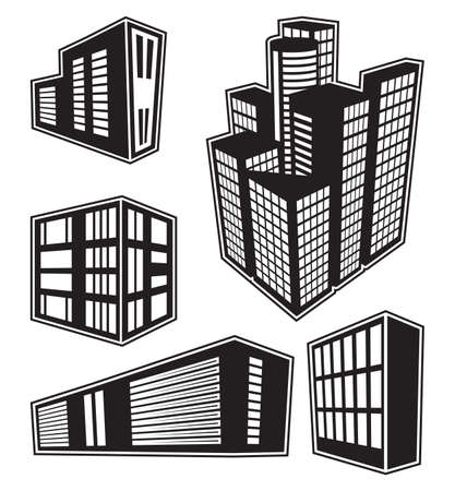 3d Building icons Stock Vector - 23348850