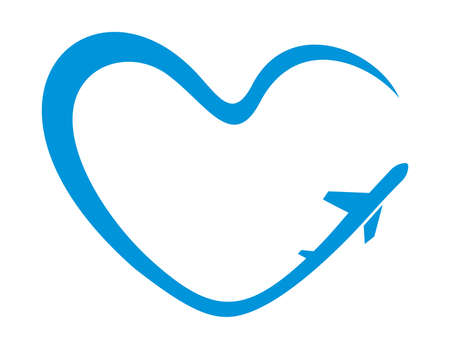 airplane heart symbol Vector