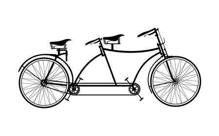 bicycle seat: Retro tandem bicycle