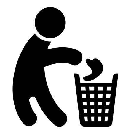 throw paper: Recycle man icon