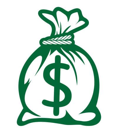 錢: 美元袋圖標 向量圖像