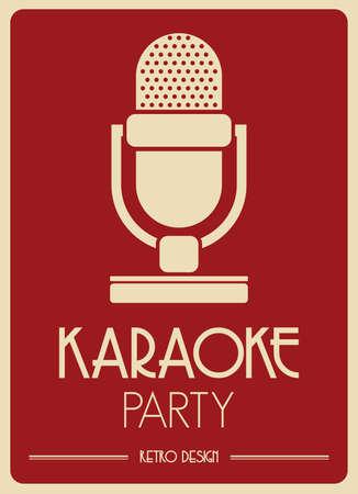 Karaoke Microphone retro poster 일러스트
