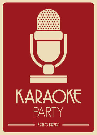 Karaoke Microphone retro poster Vector