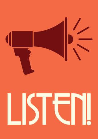 megafono: Meg�fono cartel retro Vectores