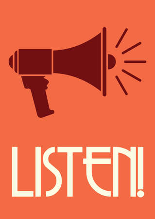 listening: Megaphone retro poster