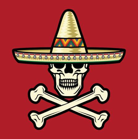 sombrero de charro: Cráneo mexicano con sombrero Vectores