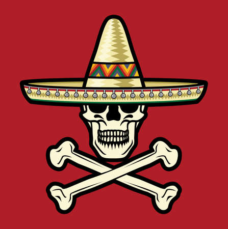 death symbol: Mexican Skull with sombrero Illustration
