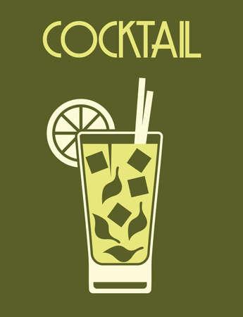 カクテルのレトロなポスター