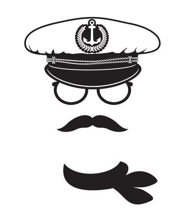 captain cap with scarf moustache Vector