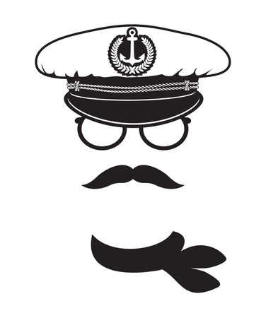 kapitein pet met sjaal snor Stock Illustratie