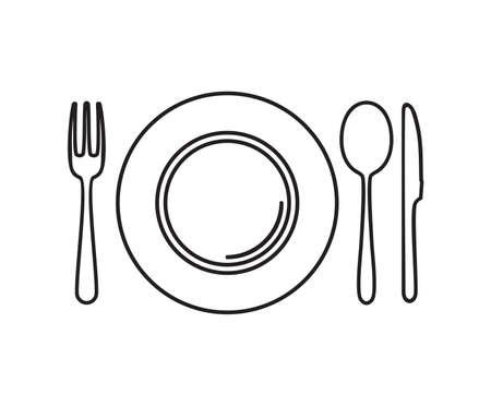 Plato, cuchillo, cuchara y tenedor Foto de archivo - 23349105