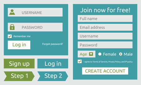 log in and sign up user interface Vector